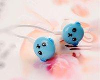 EMS Free Shipping 50pcs/lot 3.5mm bear baby in ear earphone for mp4 mp3 notebook/ colorful in-ear earphone