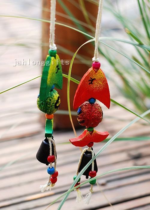 Fashion Ethnic Hand Painted Wooden Car Hanging Ornament
