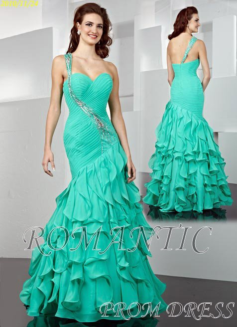 Hot sale chiffon one-shoulder sweetheart neckline beautiful prom dress(China (Mainland))