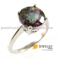 Wholesale Classic Luxury ROUND 3ct Genuine Rainbow Fire Mystic Topaz Ring Sets 925 Sterling Silver Size 6 7 8 9 Free shipping