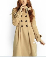 free shipping Woollen coat double platoon to buckle NeZi coat female