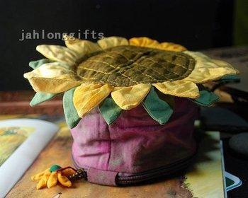 Fashion Handicrafted Sunflower Tissue Holder Box Purple Napkin Dispenser  Car Decor Home Decoration Gift 10pcs Free Shipping