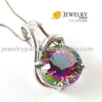 LUXURY DESIGN 14ct Genuine Rainbow Fire Mystic Topaz Pendant 925 Sterling Silver Free shipping