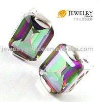 AAA 7.5ct Genuine Fire Rainbow Mystic Topaz Earrings Studs 925 Sterling Silver Freeshipping