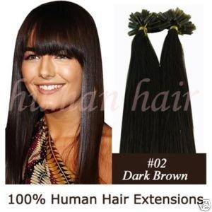 """200strands 18 """"queratina cola de unhas ponta extensões de cabelo Remy 0,5 g # 2 marrom escuro(China (Mainland))"""