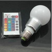 E27 RGB LED 7 Color with Remote Control Lamp Light Bulb +90% power saving