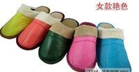 free shipping new women's men's Leather slippers eleusine bottom sheep skin floor warm size:35 36 37 38 39 40 41 42 43 44 5pairs
