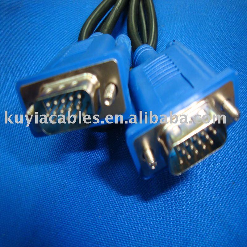 Free shipping+5pcs/lot vga to vga cable 5FT SVGA VGA Monitor M/M Extension Cable (Blue Connect)(China (Mainland))