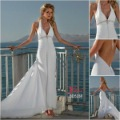 2012 Style Sexy deep v-neck halter empire chiffon backless beading floor-length Summer Wedding Dress Beach Bridal Dress