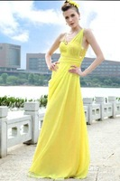 Ladies' evening dress fashion dress long yellow beading ruffle spaghetti strap A-line