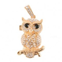 hot sell free shipping  2GB Crystal Owl USB Flash Drive (Golden)