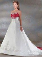 Free Shipping Custom-made spaghetti straps A-Line floor length embroidery satin wedding dress