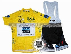 2010 Saxo Bank Tour de France Champion Yellow Cycling Jersey And Bib Shorts Set(China (Mainland))