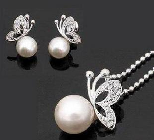 Fashion pearl jewelry set, Copper with 18k gold plated, Fashion jewellery settings, Pendant&earrings(twinset),Free necklace