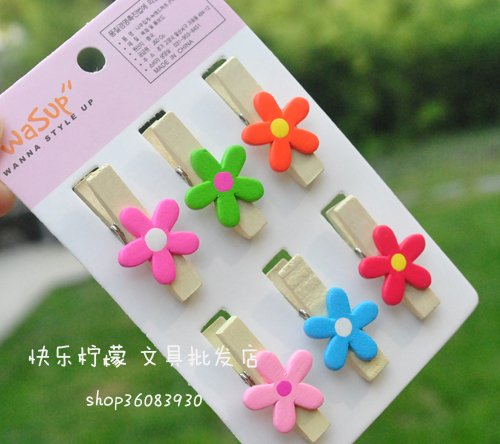 FREE SHIPPING Wholesale 30 PCS Cute Cartoon Small Flower Wooden Clip Paper Clip Office &amp; School Fashion Style Creative Gift(China (Mainland))
