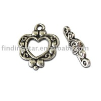 FREE SHIPPING 200sets tibetan silver heart toggle clasp A10580