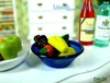 1/12 Scale Dollhouse Kitchen Furniture Miniature ~ Doll Food Blue Glass Bowl Vegetables Fruit dish~ Free Shipping !