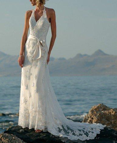 Lhui 1208y desconto design de moda cetim e renda aceitar vestidos de noiva colar cabeçada, vestidos de noiva(China (Mainland))