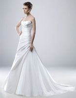 Free Shipping Wholesale/retail SlimA-line White Taffeta Wedding Dress Bridal Gown size  Custom