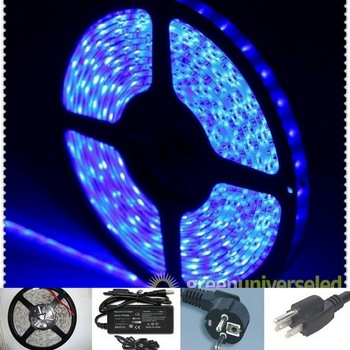 Blue SMD 3528 led stripe,12v  Wateproof IP65 Flexible 300LEDs 5M&24w Power Supply free shipping