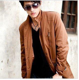 The cheast 2010 Fashion cotton windbreaker/men windcoat/handsome black/orange,dark red coat free shipping