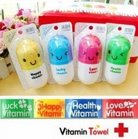 FREE SHIPPING 35pcs/lot Cute Vitamin Towel Capsule BOX/magic towel/advertising towel/microfiber towel/cake towel /terry towel