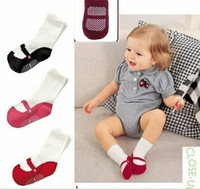 3 colors 90 pairs/lot  Name brand cotton Baby socks/Solid Girl's Socks