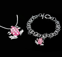 Girls Cute Purple Gift Frog Jewelry Set, Fashion Necklace Bracelet Jewelry, Silver Jewelry Set T171 5pc/lot Free shipping