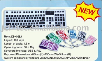 USB or PS2 silicone rubber Colorful FLEXIBLE Keyboard for PC 106 keys waterproof