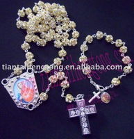 Christmas gift platinum totally iced out bling bling rosary chain set/rosary necklace/religious rosary special offer