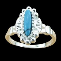 Free ship fee 925 sterling silver Zircon turquoise finger ring US standards size 7  R365