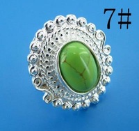 Free ship fee 925 sterling silver Sun flower turquoise finger ring US standards size 7  R355
