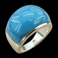 Free ship fee 925 sterling silver Massive turquoise finger ring US standards size 8 UK Q  R351