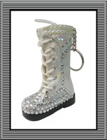 Fast Free shipping ,new arrival hot selling fashion shoe keychain with white AB and white rhinestone ,10pcs/lot