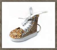 Fast Free shipping ,new arrival hot selling fashion shoe keychain with topaz rhinestone ,3.0cm*7.0cm*5.5cm 10pcs/lot