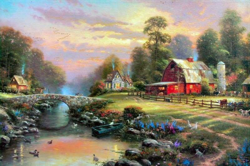 Thomas Kinkade Oil Painting-Sunset at Riverbend(China (Mainland))