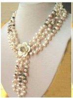 Rare potato Freshwater Pearl Garnet Necklace Choker shipping free