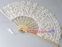 100pcs/lot white Wedding  Lace Fan handmade Bridal Accessories mixed colors free shipping