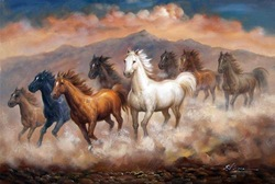 Wild Horses Mustangs Herd Southwest Large Oil Painting(China (Mainland))