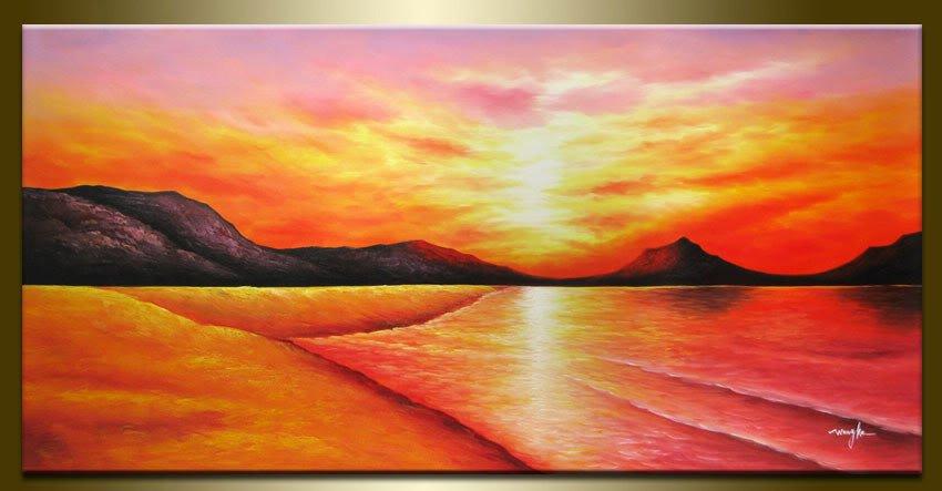 Pôr do sol na pintura a óleo de Praia(China (Mainland))