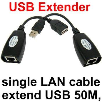 USB Cat5 e Cat6 RJ45 Convert Cord EXTENDER CABLE Laptop USB Extension Cable