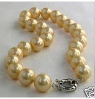 Charming 12 mm yellow Shell PEARL NECKLACE shipping free