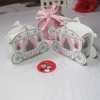 (Free shipping) 50pcs Cinde Carriage Wedding Party Favor Boxwedding candy box Wedding Favor Baby shower Party Boxed Pink Wedding