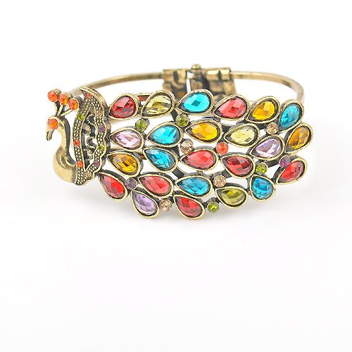 Korean fashion jewelry beautiful retro peacock bangles bracelets wholesale(China (Mainland))