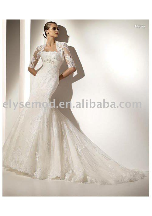 Freeshipping jacket Chapel Train Ivory elegant ballgown strapless wedding dress Lace(China (Mainland))