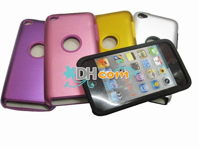 Free shipping 50pcs silver pink gold green purple aluminum&silicone hard back case cover for ipod couch 4+50pcs screen protector(China (Mainland))