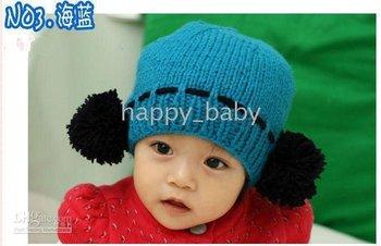 hats for girl/kids Cotton Baby Crochet Hats/Knitted Cap/girl Beanie/Children Plush ball Caps, winter