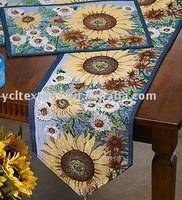 Tapestry on sale and retail sunflower pattern jacquard  1pc table runners and 4pcs placemats set