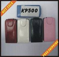 Free shipping --New high quality more colours leather case mobile phone cellphone for black LG KP500 with vision package