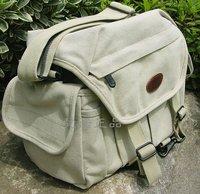 100% quality guarantee 7606 beige thick canvas shoulder messenger bag waterproof canvas digital camera bag